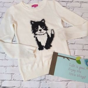 """T/O White Girl Sweater """"puppy"""" Size L"""